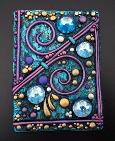 Polymer Clay Kunst, Polymer Clay Projects, Polymer Clay Creations, Diy Clay, Notebook Covers, Journal Covers, Blank Journal, Polymer Journal, Purple Tapestry