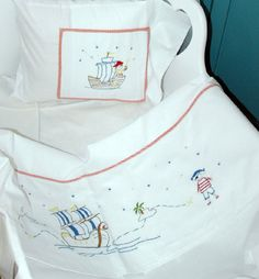 baby boy sheet pillowcase hand embroidered by babysdreamfairytales