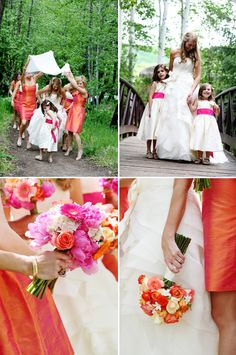 Colorful orange and pink wedding details at Beaver Creek Resort, photo by Jenna Walker, via Junebug Weddings