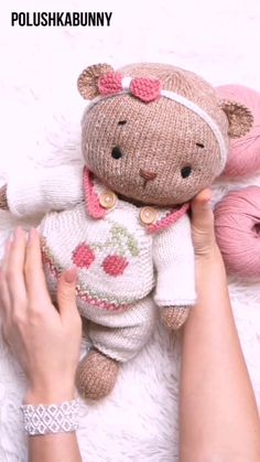 """Knitting: Teddy Bear Clothes """"Cherry"""" - Pattern #knitting #pattern #teddy #bear #clothes #outfit Teddy Bear Knitting Pattern, Knitted Teddy Bear, Hand Knitting, Knitting Patterns, Teddy Bear Clothes, Teddy Bear Toys, Yarn Brands, Animal Crafts, Knitted Dolls"""