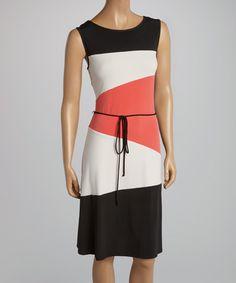 Look at this #zulilyfind! Black & Coral Color Block Tie-Waist Dress by AA Studio #zulilyfinds