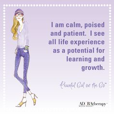 """""""I am calm, poised and patient.  I see all life experience as a potential for learning and growth."""" #ADORAtherapy #aromatherapy #GalOnTheGo #Peaceful #Peace #MoodBoost #FemaleEmpowerment #Violet"""