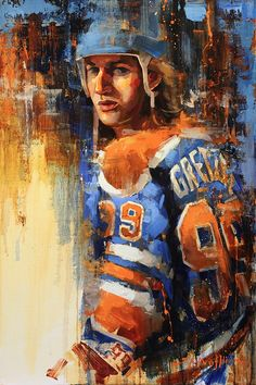 Wayne Gretzky Edmonton Oilers canvas print wall art. Various sizes and framing options available. Painting by Jerry R. Markham - www.jrmhockeyart.com