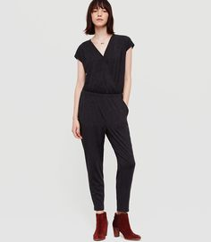 Lou & Grey Jerseyknit Crossover Jumpsuit in Charcoal