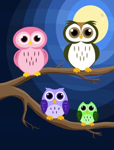 Owls Owl Wallpaper, Mobile Wallpaper, Owl Family, Family Painting, Different Birds, Childrens Wall Art, Owl Art, Cute Owl, Cute Animals