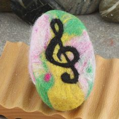 Unscented Goat Milk Felted Soap with a Musical Treble Clef Theme by Alaiyna B. Bath and Body
