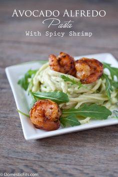 Avocado Alfredo Pasta with Spicy Shrimp... could use with quinoa pasta or just quinoa