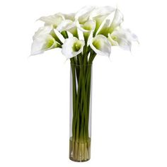 Price: $102.99 With several fresh-looking stalks rising in a tall cylinder vase complete with liquid water, giving way to the gaping white blooms above. This White Calla Lily Silk Flower Arrangement radiates a peaceful and tranquil feeling. And because it never needs water and care, those feelings will last a lifetime!
