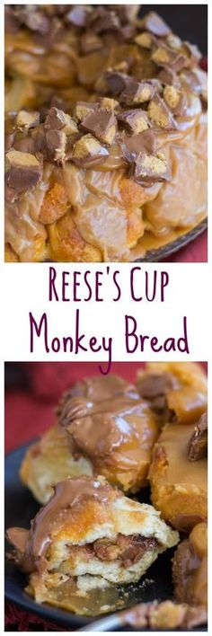 For chocolate and peanut butter lovers', this Reese's Peanut Butter Cup Monkey Bread is next level! With a mini Reese's cup inside each bite of monkey bread, and drenched in peanut butter glaze, the decadence is unmatched. (cake in a cup peanut butter) Peanut Butter Cups, Peanut Butter Desserts, Almond Butter, Fudge, Cocoa Brownies, Dessert Simple, Monkey Bread, Just Desserts, Dessert Recipes