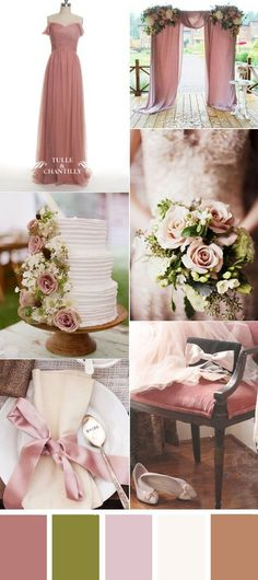 romatic dusty rose wedding color ideas