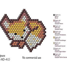 Little fox perler bead pattern Hama Beads Patterns, Seed Bead Patterns, Peyote Patterns, Beading Patterns, Stitch Patterns, Miyuki Beads, Pony Bead Crafts, Seed Bead Projects, Beaded Cross Stitch