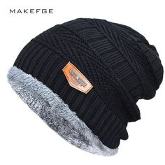Men s winter hat 2017 fashion knitted black hats Fall Hat Thick and warm  and Bonnet Skullies Beanie Soft Knitted Beanies Cotton(China) 5656388fb887