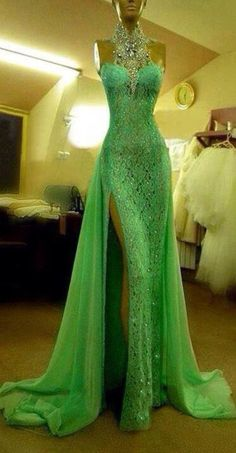 green evening dresses,crystal beaded long evening gowns 2014