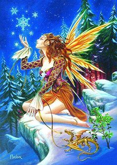 Faery with Dragon YULE Card - Briar Snowflake Fairy Yuletide Holiday Solstice Greeting Card