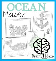 A fun collection of Nautical mazes and worksheets for kids.  Featuring a crab, anchor, boat and whale each maze includes extra handwriting practice or activity prompts for children to complete.