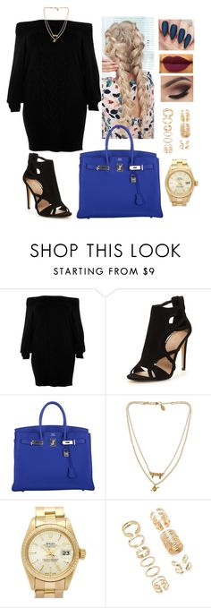 """""""#sweaterdress #streetfashion #fallfashion #winterfashion #fashion"""" by mrsbreezy0522 ❤ liked on Polyvore featuring River Island, Hermès, Bee Charming, Rolex and Forever 21"""