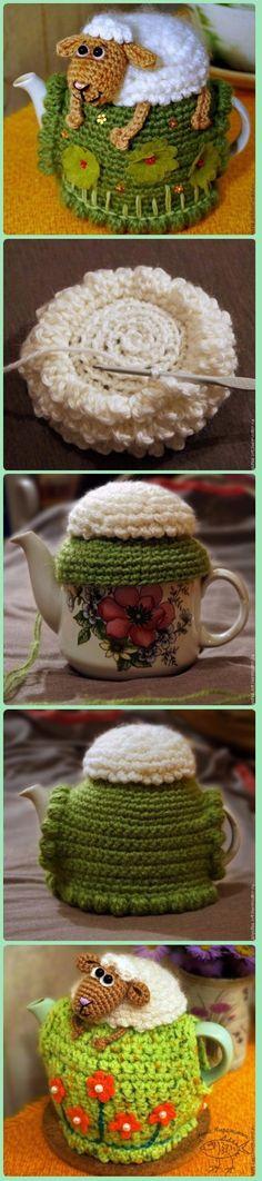 Crochet Sheep on the Hill Fairy Teapot Cozy Cover Pattern Free-Crochet Knit Tea Cozy Free Patterns