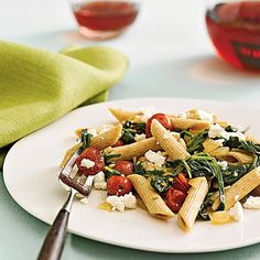 Penne With Spinach and Feta - make with whole wheat pasta!