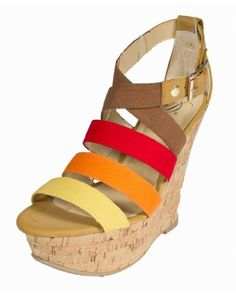 4eaf99ccb4ea Clean By Delicious Strappy Platform Cork Wedge Sandals with Adjustable  Ankle Buckle red cotton multi colored straps 85 M -- Be sure to check out  this ...
