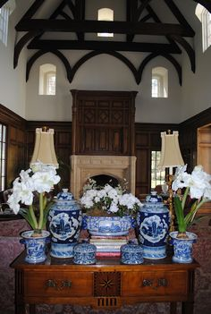 Blue and white vases with flowers