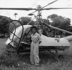 The doctor-Captain Valerie Andrew & Hiller 360 with which she saved many wounded in Indochina, 1950s - Photo © Valérie André question. Pin by Paolo Marzioli