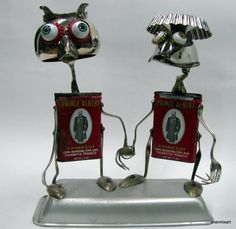 """Vintage Recycling RUSTY ROBOT SCULPTURE -"""" I've Been Loving You Too Long """"-green art,red,silver,metal sculpture,nostalgia,retro style"""