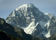 Monte Bianco di Courmayeur in the Italian part of the Mont Blanc massif -  the second-highest peak in the Alps.