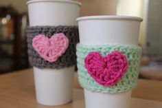 Coffee cup sleeve cozy  heart crochet coffee by shopthesugarstitch, $6.50