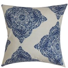 This damask throw pillow makes a bold statement with its cool blue and white color combination. A fluffy and chic accent pillow like this deserves to take the spotlight in your home.