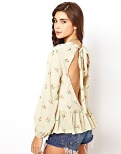 Enlarge ASOS Top With Floral Print And Cutout Back