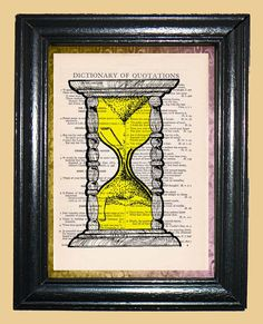 Yellow Sand Hourglass Art  Vintage Dictionary Page by CocoPuffsArt, $9.99