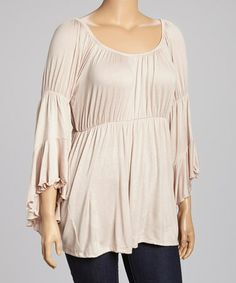 Another great find on #zulily! Khaki Angel-Sleeve Top - Plus #zulilyfinds