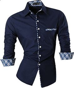 Jeansian Men's Slim Fit Long Sleeves Casual Shirts 8371 Black L  Go to the website to read more description.