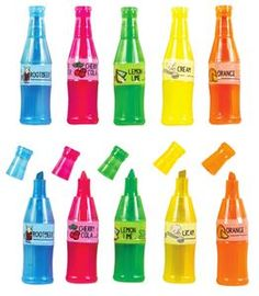Sodapop Scented Highlighter - These highlighters shaped like soda bottles have scents that include: Green (Lemon Lime), Blue (Root Beer), Orange (Orange), Pink (Cherry Cola) and Yellow (Cream)