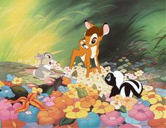My fav part of the movie; when bambi starts talking and meets thumper and flower <3