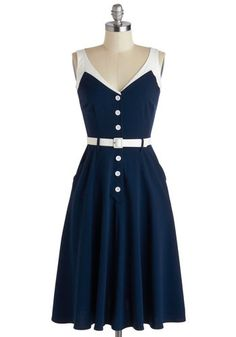 Sense of Tasteful Dress in Navy by Bettie Page - Long, Blue, White, Buttons, Pockets, Belted, Casual, A-line, Sleeveless, V Neck, Rockabilly, Vintage Inspired, 50s