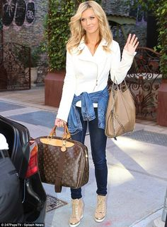 Joanna Krupa.. white + blue.. Louis Vuitton holdall.. brown Stella McCartney chain shoulder bag.. beige high-heeled booties..