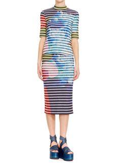 Urban Blooms Striped Rib-Knit Skirt