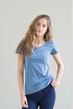 The perfect short sleeve tee! Extra length torso, gorgeous denim blue cotton lycra.