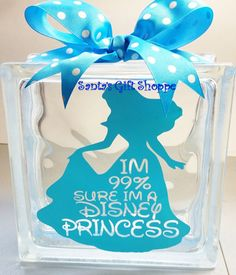 I'm sure I am a Disney Princess GlassBlock by santasgiftshoppe Decorative Glass Blocks, Lighted Glass Blocks, Christmas Wood Crafts, Christmas Signs, Christmas Trees, Picture Frame Crafts, Picture Frames, Glass Block Crafts, Wood Craft Patterns