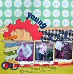 Sarah shares this funky layout made with the kit. Young At Heart, Layout, Scrapbook, Kit, Spring, Inspiration, Biblical Inspiration, Page Layout, Scrapbooks