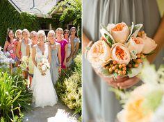 Meridian Vineyards Wedding by Cameron Ingalls - Peach garden roses, lamb's ear, hypericum berries