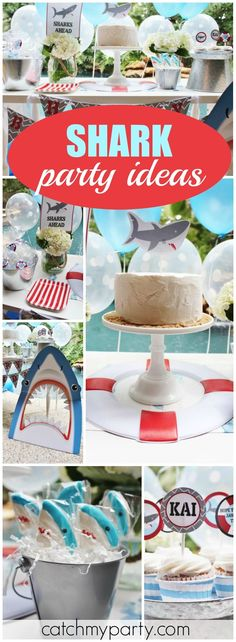 """Loving this shark party, it's so perfect for the summertime! See more party ideas at <a href=""""http://Catchmyparty.com"""" rel=""""nofollow"""" target=""""_blank"""">Catchmyparty.com</a>!"""