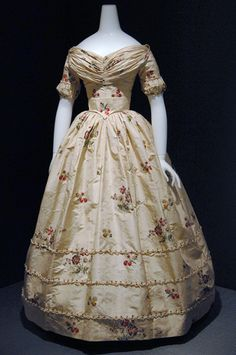 This dress was originally made circa 1760 but redesigned in the mid 19th century in a more contemporary style.