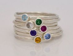Rustic Birthstone Stacking Rings in Sterling Silver or Gold