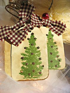 Holiday Tree Primitive Inspired Vintage Style Tag Set