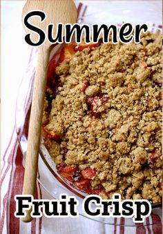 Summer Fruit Crisp is easy to make, super flexible, and the crisp topping can be made in advance and kept frozen until ready to use. #fruitcrisp #stonefruitcrisp #summerfruitdesserts #fruitcrisprecipes #easyfruitcrisp #studiodeliciouseats #oatfruitcrumble