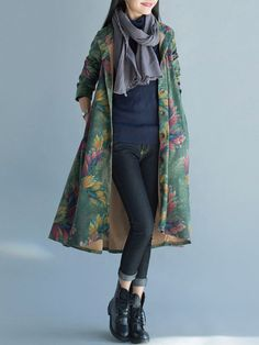 Casual Printed Pocket Button Fly Coat For Women