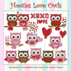 Hootie Love Owls is a collection of cross stitch owls in pink, chocolate brown and red. Perfect for samplers and other projects with love theme.      Mini Cross Stitch Pattern: Hootie Love Owls     Design Source: Cherry Clipart