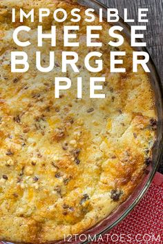 Apr 2020 - Impossible Cheeseburger Pie - use gluten free Bisquick! Bisquick Recipes, Amish Recipes, Meat Recipes, Cooking Recipes, Ono Kine Recipes, Hamburger Dishes, Beef Dishes, Food Dishes, French Tips